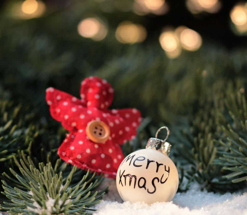 Download Free Stock Photo of Christmas Ornament says Merry Xmas