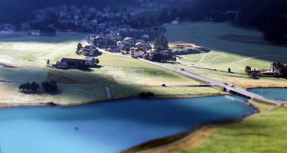 Download Free Stock HD Photo of Alpine village shot to look miniature Online
