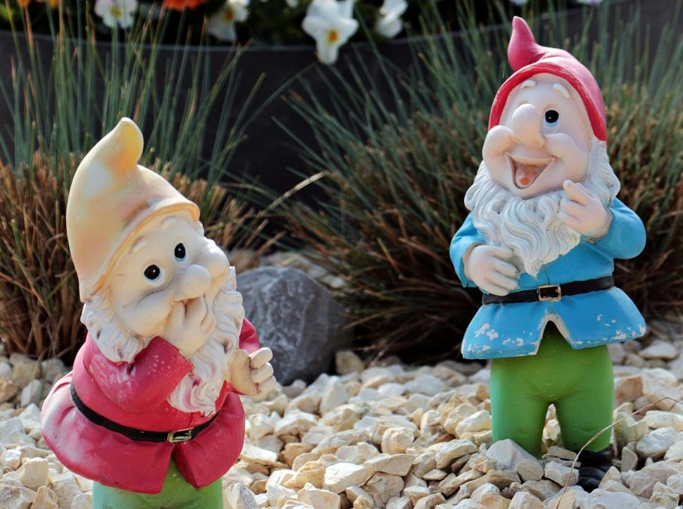 Download Free Stock Photo of Garden Gnomes being Gnomes