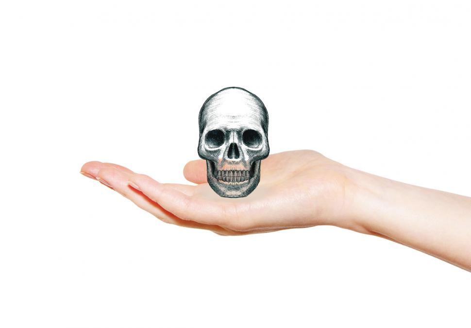 Download Free Stock HD Photo of Skull on Open Palm - Pencil Drawing - Death Concept Online