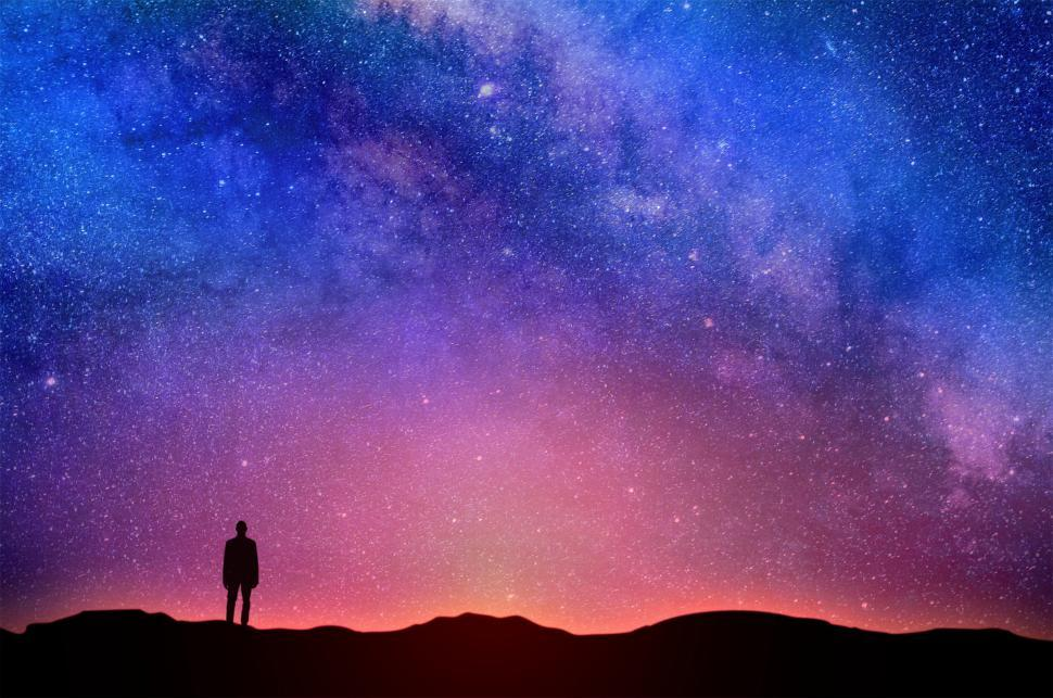 Download Free Stock Photo of Lonely Man Under Night Sky - Starry Sky Over the Horizon - Conte
