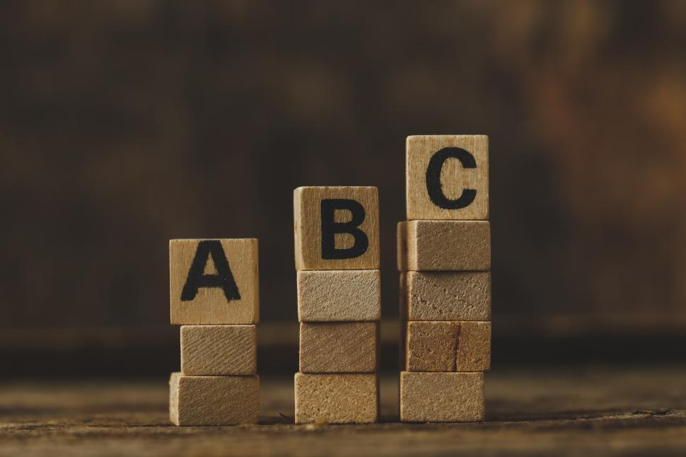 Download Free Stock Photo of Toy blocks showing ABC