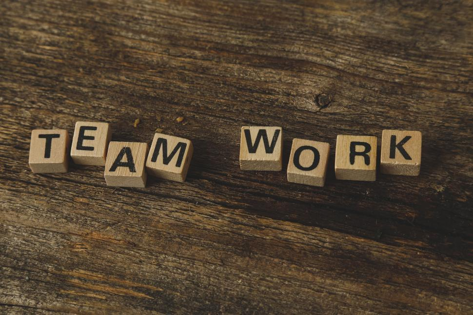 Download Free Stock HD Photo of Team work spelled in letter tiles Online