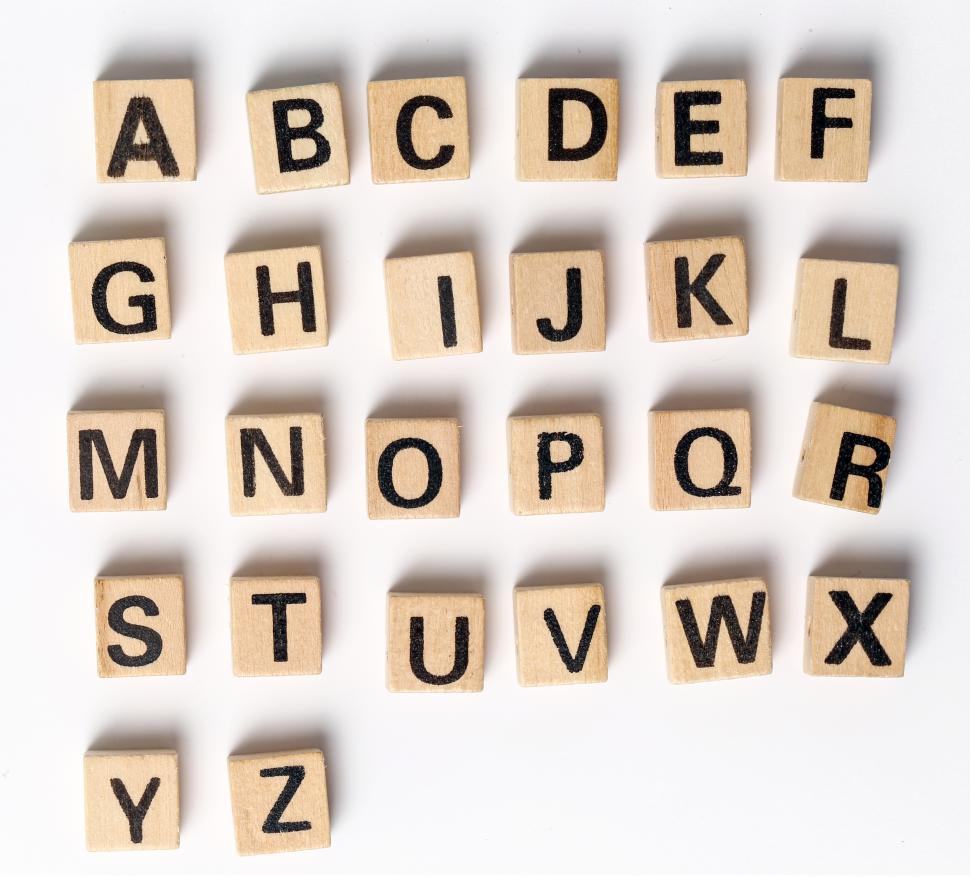 Download Free Stock Photo of Complete alphabet shown in toy blocks