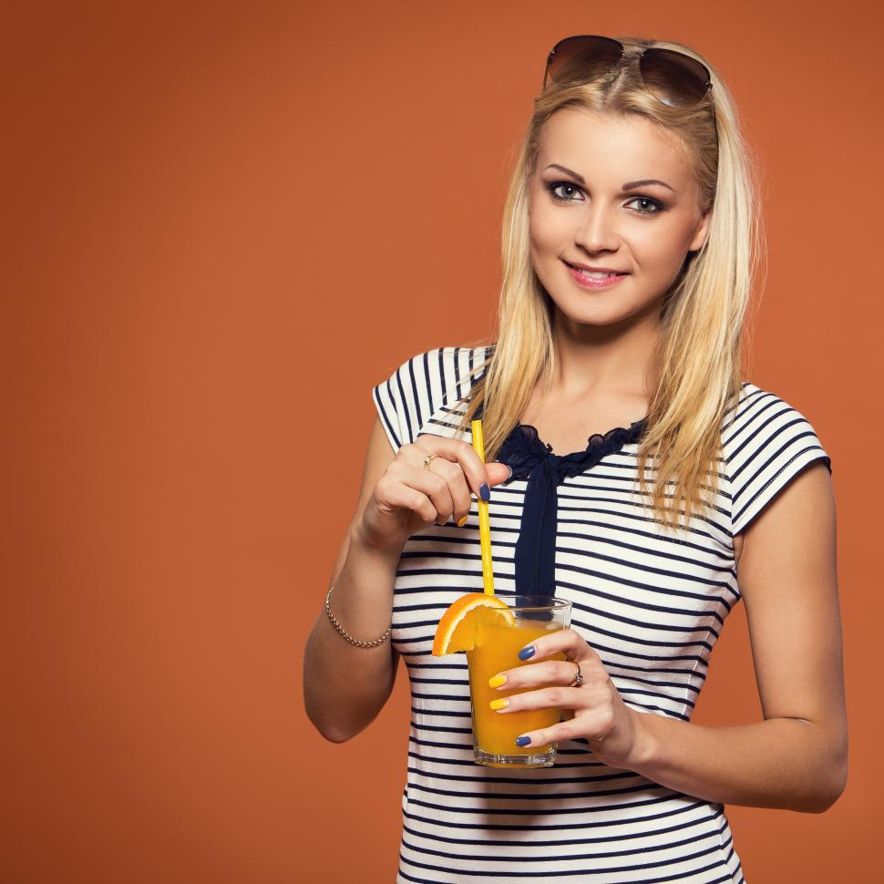 Download Free Stock HD Photo of Summer. Beautiful woman with juice Online