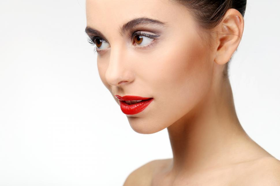 Download Free Stock Photo of Close view of beautiful girl with perfect skin and red lipstick