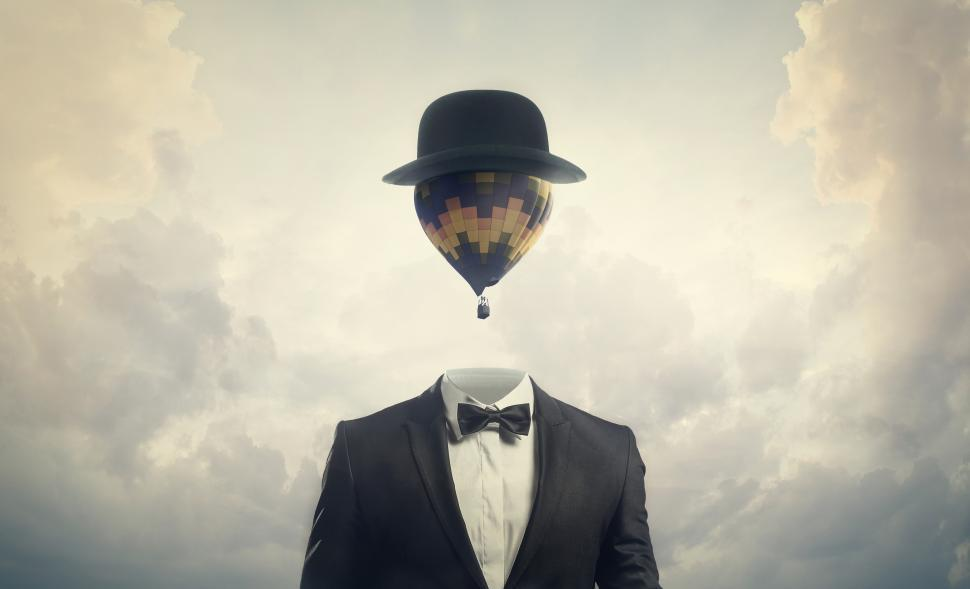 Download Free Stock Photo of Head in the Clouds - Businessman with Hot Air Balloon for a Head