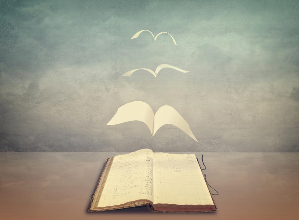 Download Free Stock Photo of Pages Flying Out of Old Book - Wisdom - Freedom in Knowledge