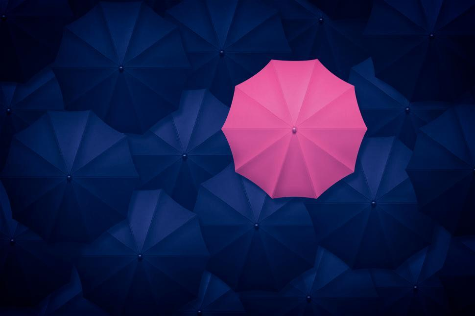 Download Free Stock HD Photo of Pink Umbrella Contrasting With Black Umbrellas - Be Different -  Online