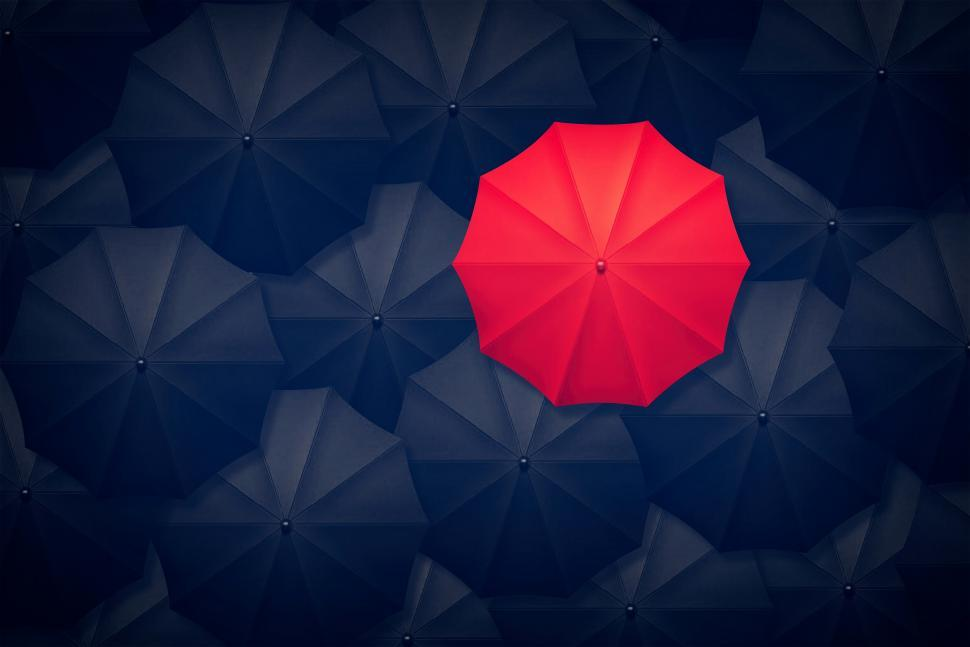 Download Free Stock Photo of Red Umbrella Contrasting With Black Umbrellas - Be Different