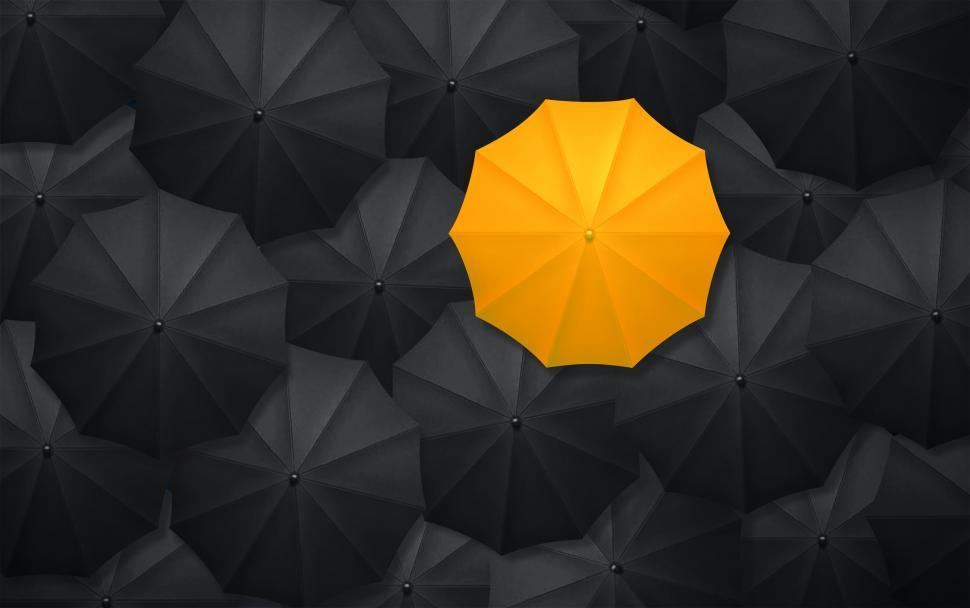 Download Free Stock Photo of Yellow Umbrella Contrasting With Black Umbrellas - Being Differe