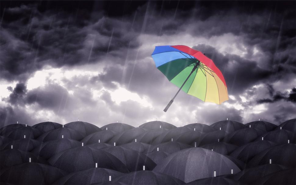 Download Free Stock HD Photo of Colorful Umbrellas and Black Umbrellas - Being Different Concept Online