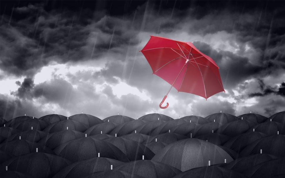 Download Free Stock HD Photo of Red Colorful Umbrella and Black Umbrellas - Being Different Conc Online