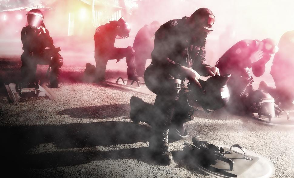 Download Free Stock Photo of Civil Unrest - Police - Riot - Attack - Gas Mask