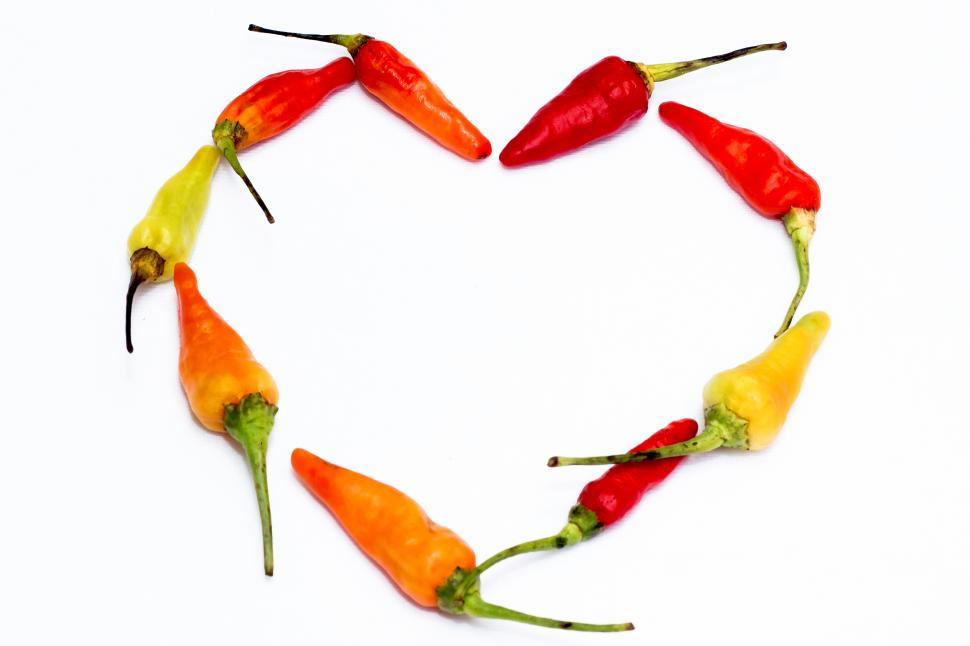 Download Free Stock Photo of Red Hot Chili  red chili forming heart