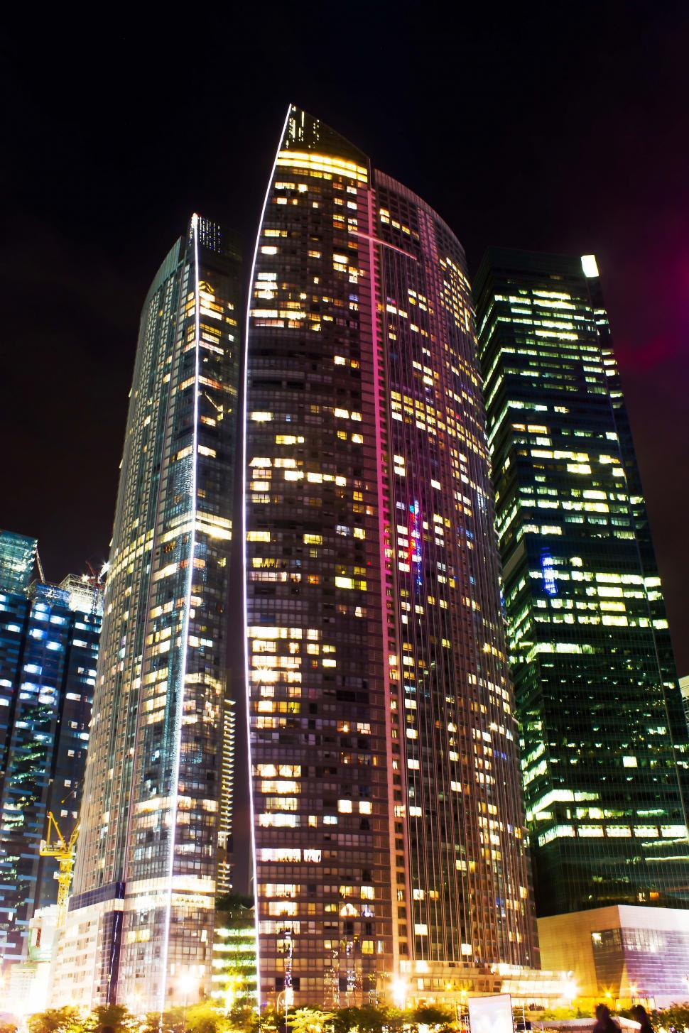 Download Free Stock HD Photo of Office high rise at night night office building Online