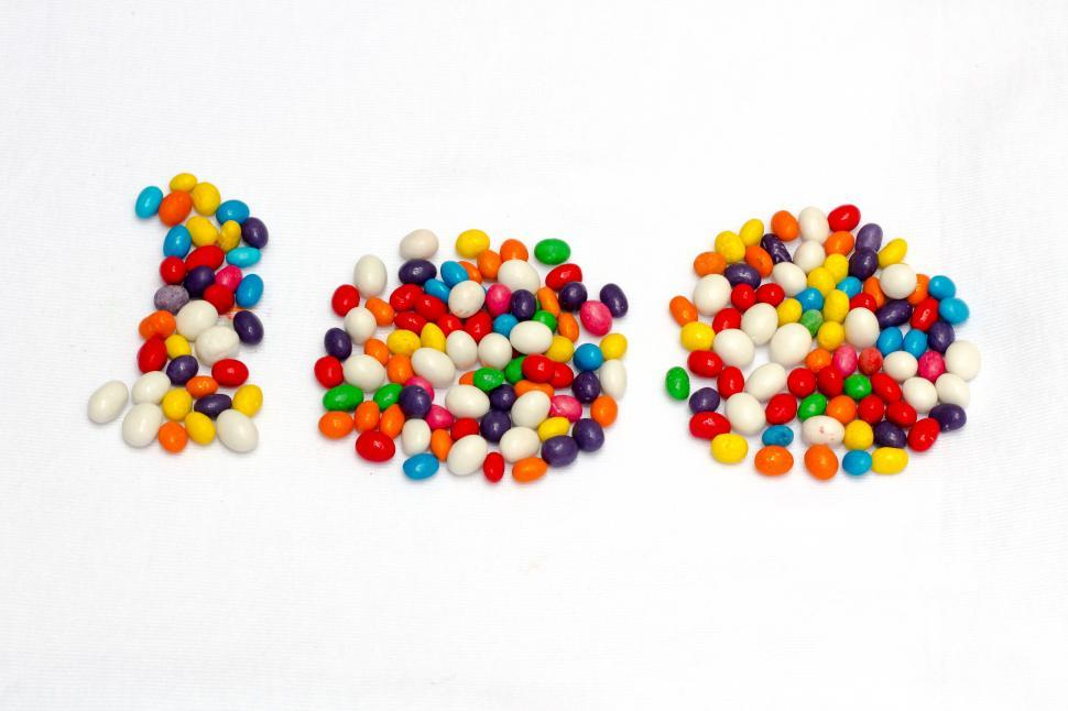 Download Free Stock Photo of Number 100 formed in candy