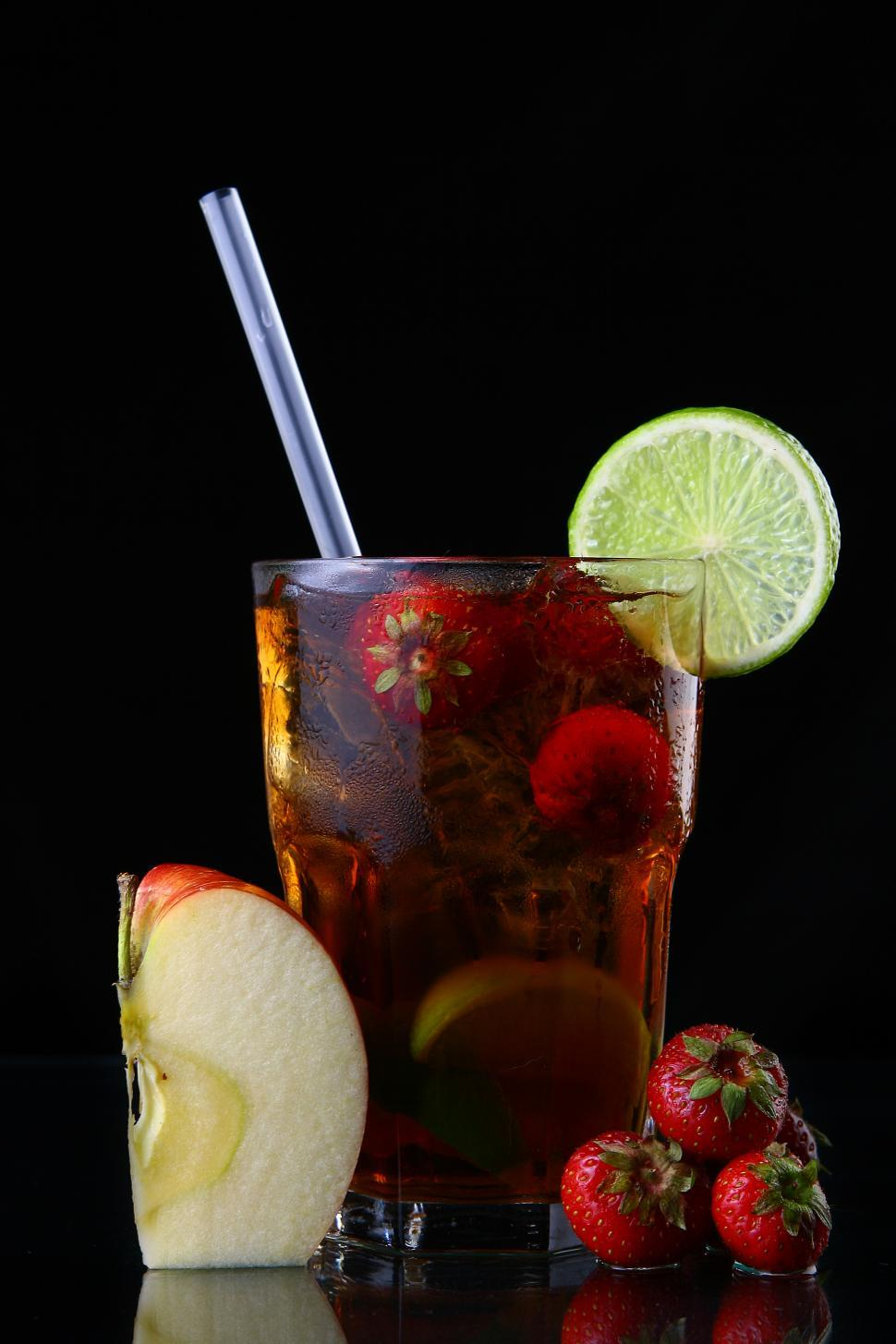 Download Free Stock HD Photo of fresh ice tea glass with lime and other fruit Online
