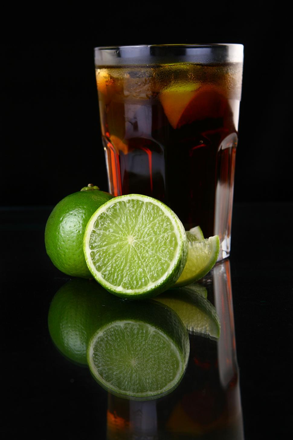 Download Free Stock HD Photo of fresh ice tea glass with lime Online