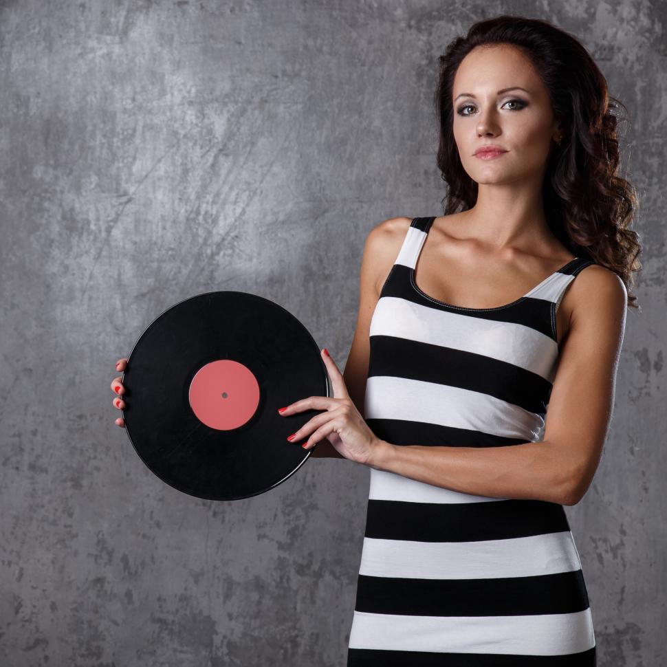 Download Free Stock HD Photo of Dj, music. Beautiful girl with vinyl Online