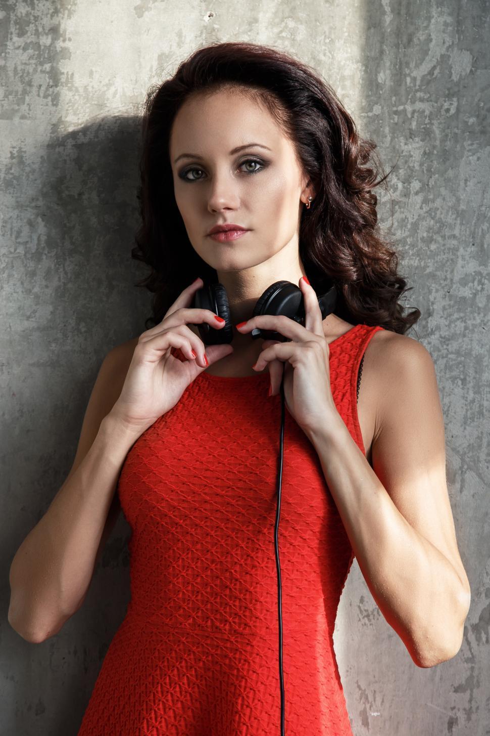 Download Free Stock HD Photo of Dj, music. Attractive girl with headphones Online