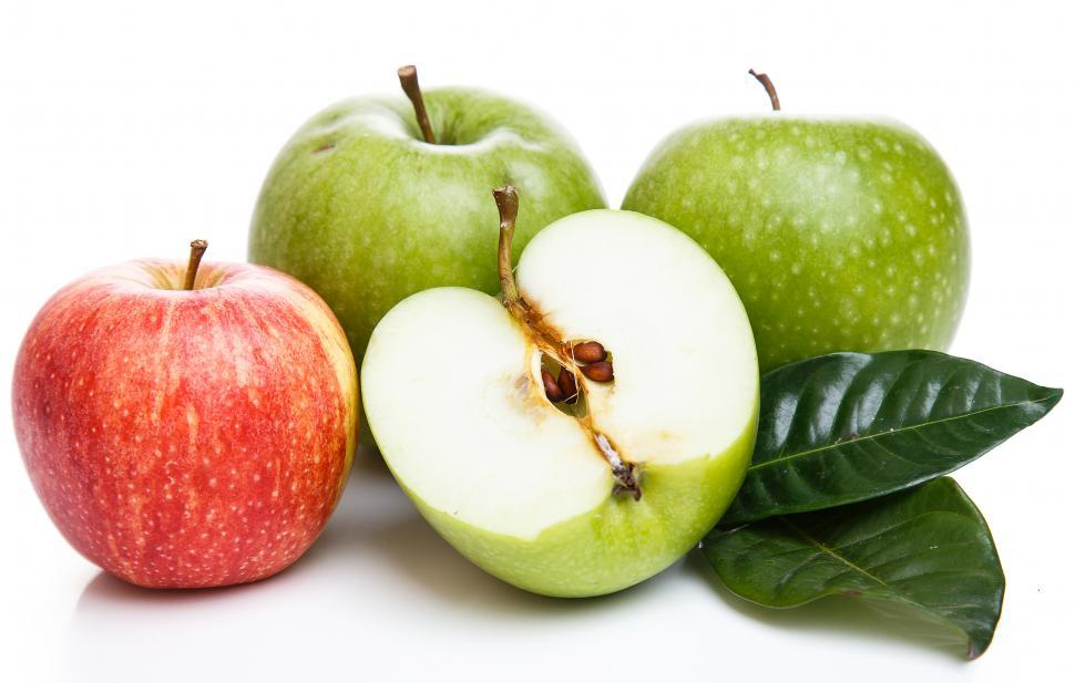Download Free Stock HD Photo of Apples on the table, white background Online