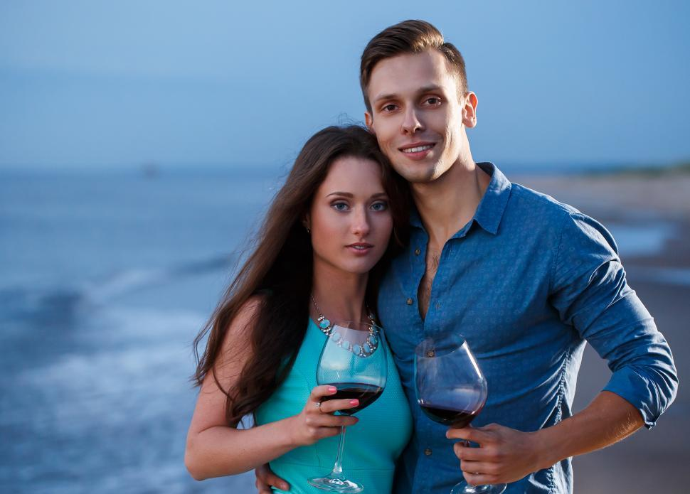 Download Free Stock HD Photo of Romantic toast on the beach Online