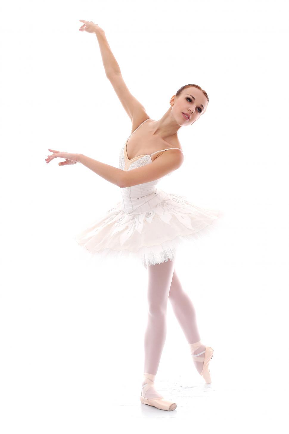 Download Free Stock Photo of Ballerina in ballet pose on white background