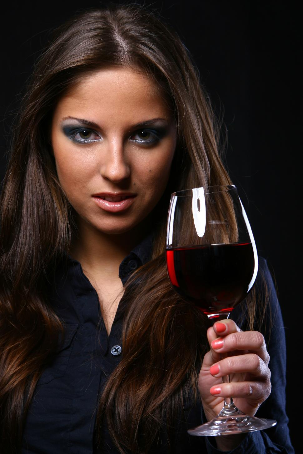Download Free Stock Photo of beautiful woman drinking wine