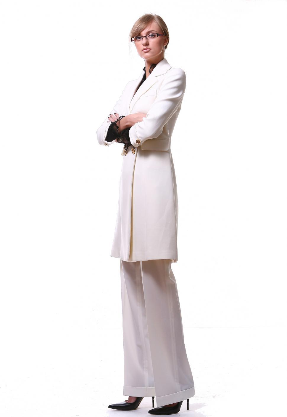 Download Free Stock HD Photo of beautiful blond business woman, white clothes Online