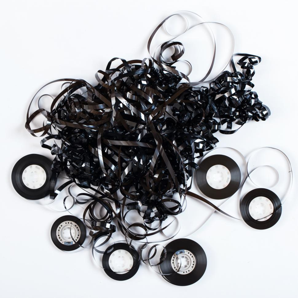 Download Free Stock HD Photo of Audio tape unspooled into mess Online
