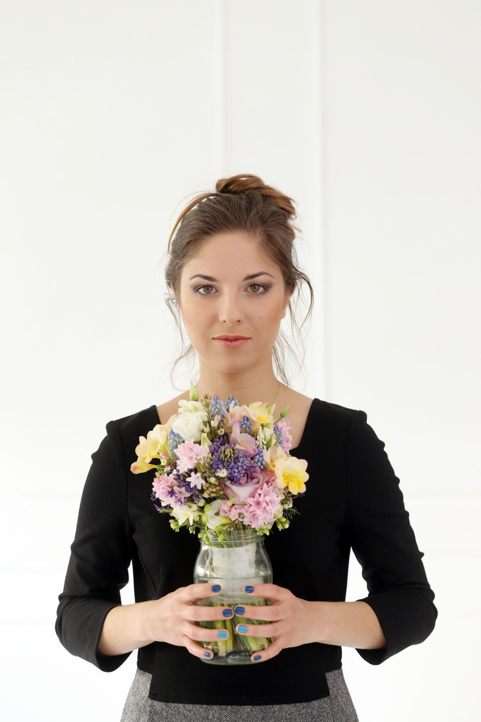 Download Free Stock HD Photo of Beautiful girl with bouquet Online