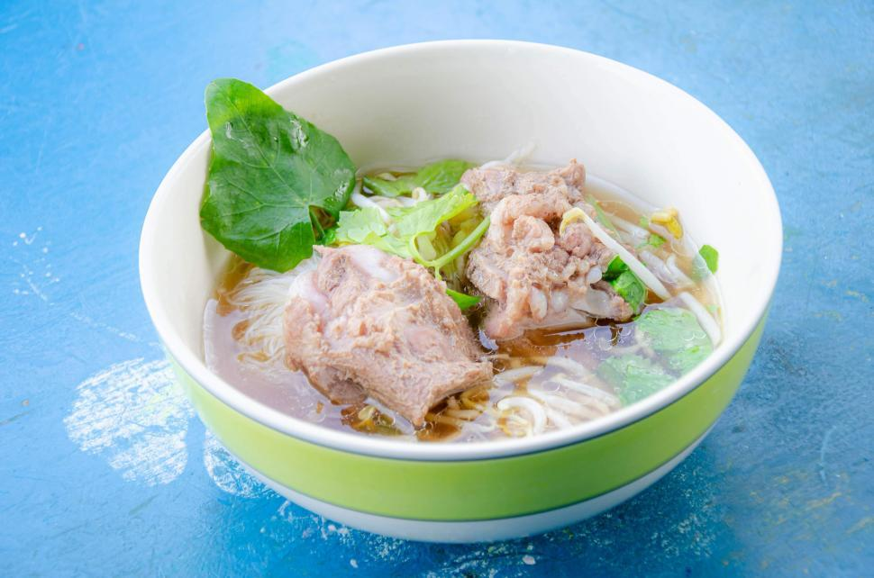 Download Free Stock Photo of Thai Noodle with Pork