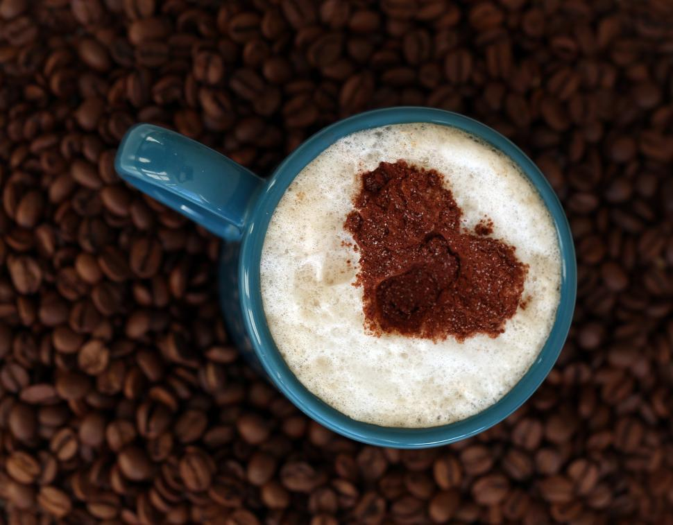 Download Free Stock Photo of Coffee heart in the foam of a drink