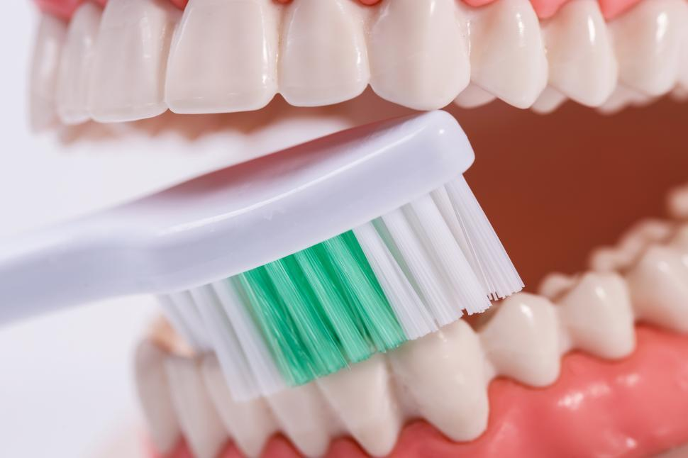 Download Free Stock Photo of Brushing White teeth with a toothbrush