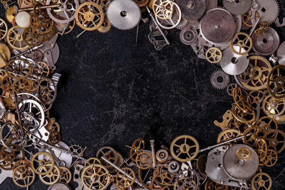 Download Free Stock Photo of Gears on the table - Frame