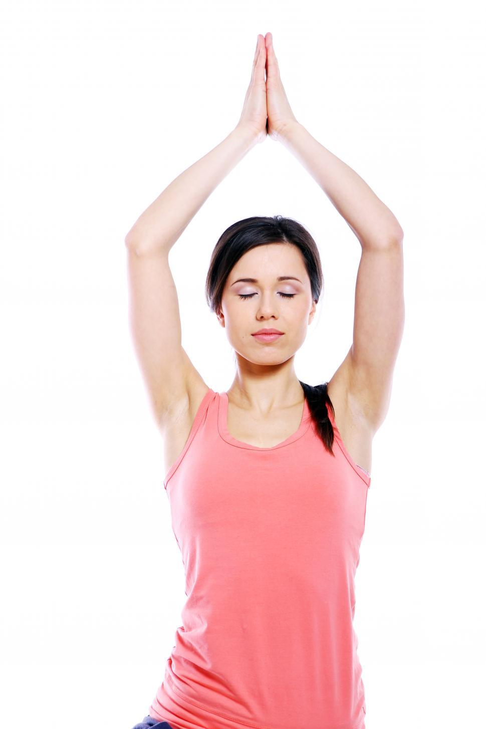 Download Free Stock HD Photo of Relaxed woman doing yoga exercises Online
