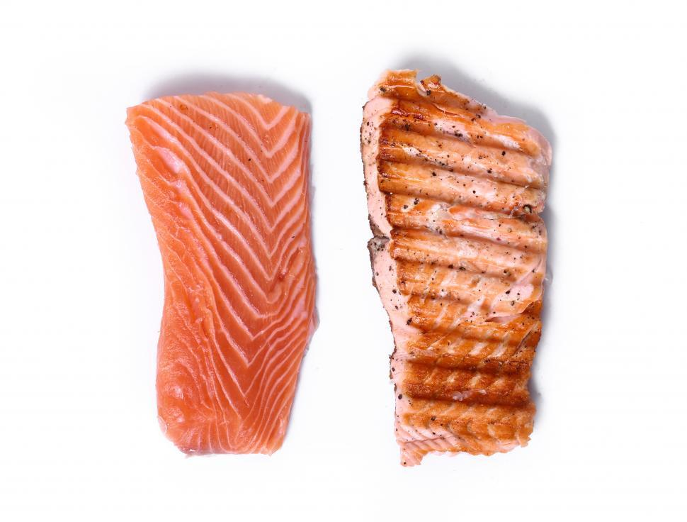 Download Free Stock HD Photo of Delicious slice of salmon, fresh and cooked Online