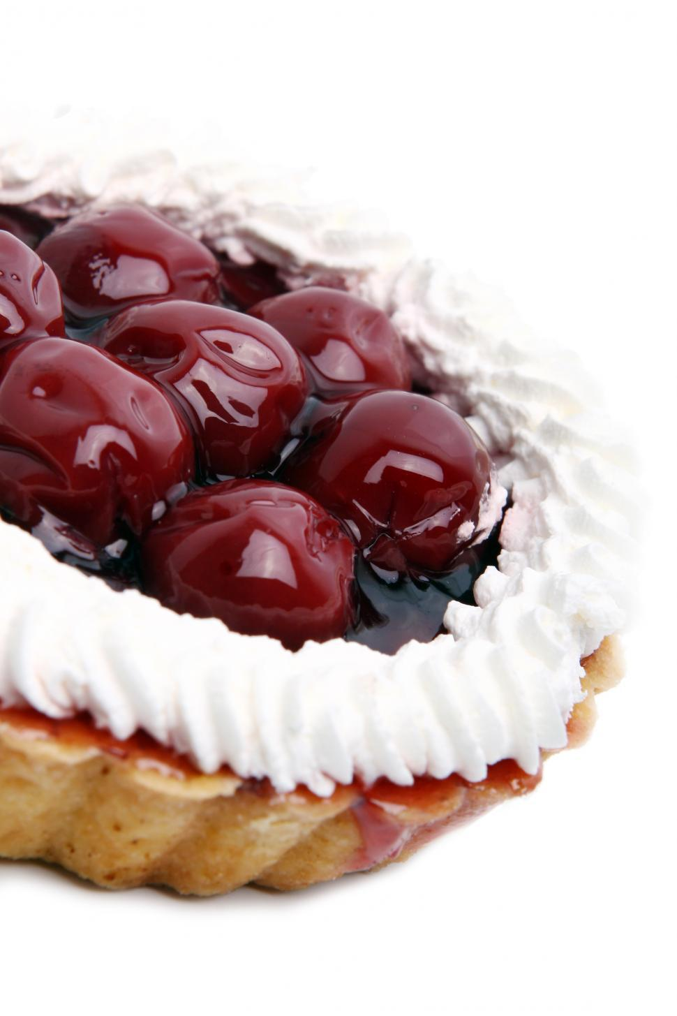 Download Free Stock HD Photo of fresh and tasty cherry cake on white Online