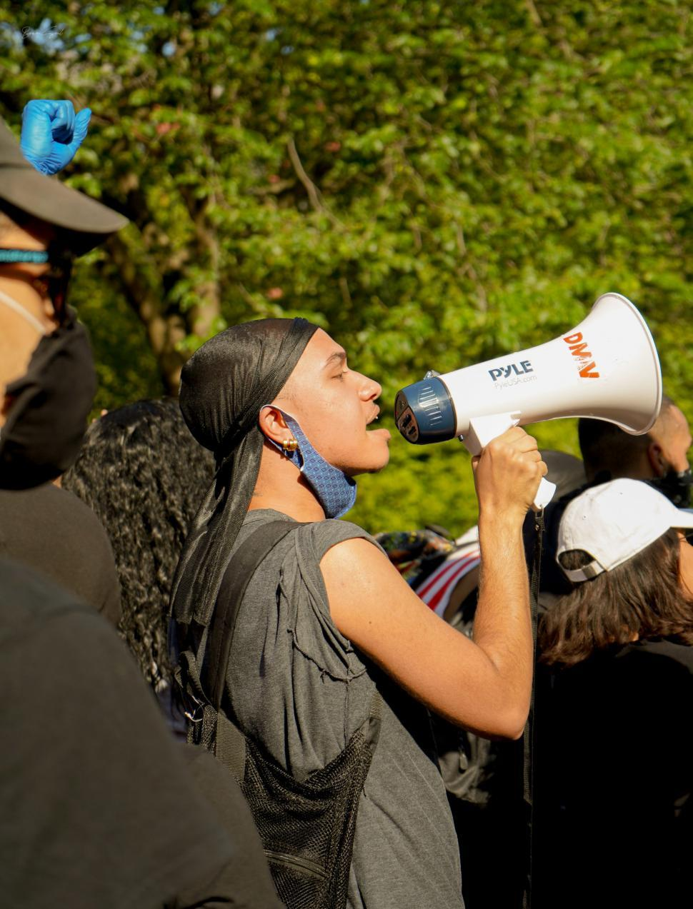 Download Free Stock Photo of Protest Leader With Megaphone