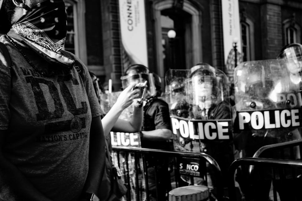 Download Free Stock Photo of Police in Riot Gear at Street Rally