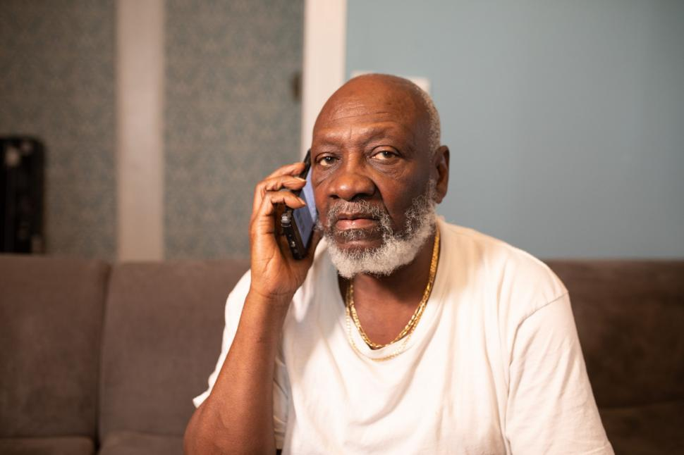 Download Free Stock Photo of Elderly Man Talking on Mobile phone at home