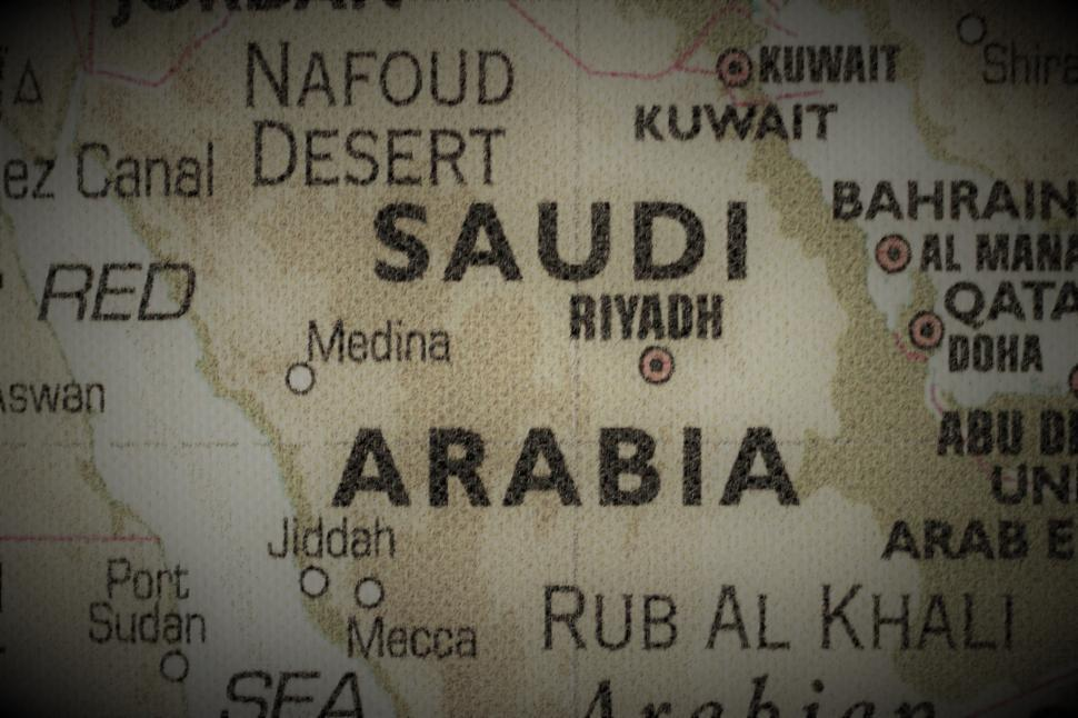 Download Free Stock Photo of Old map of Suadi Arabia
