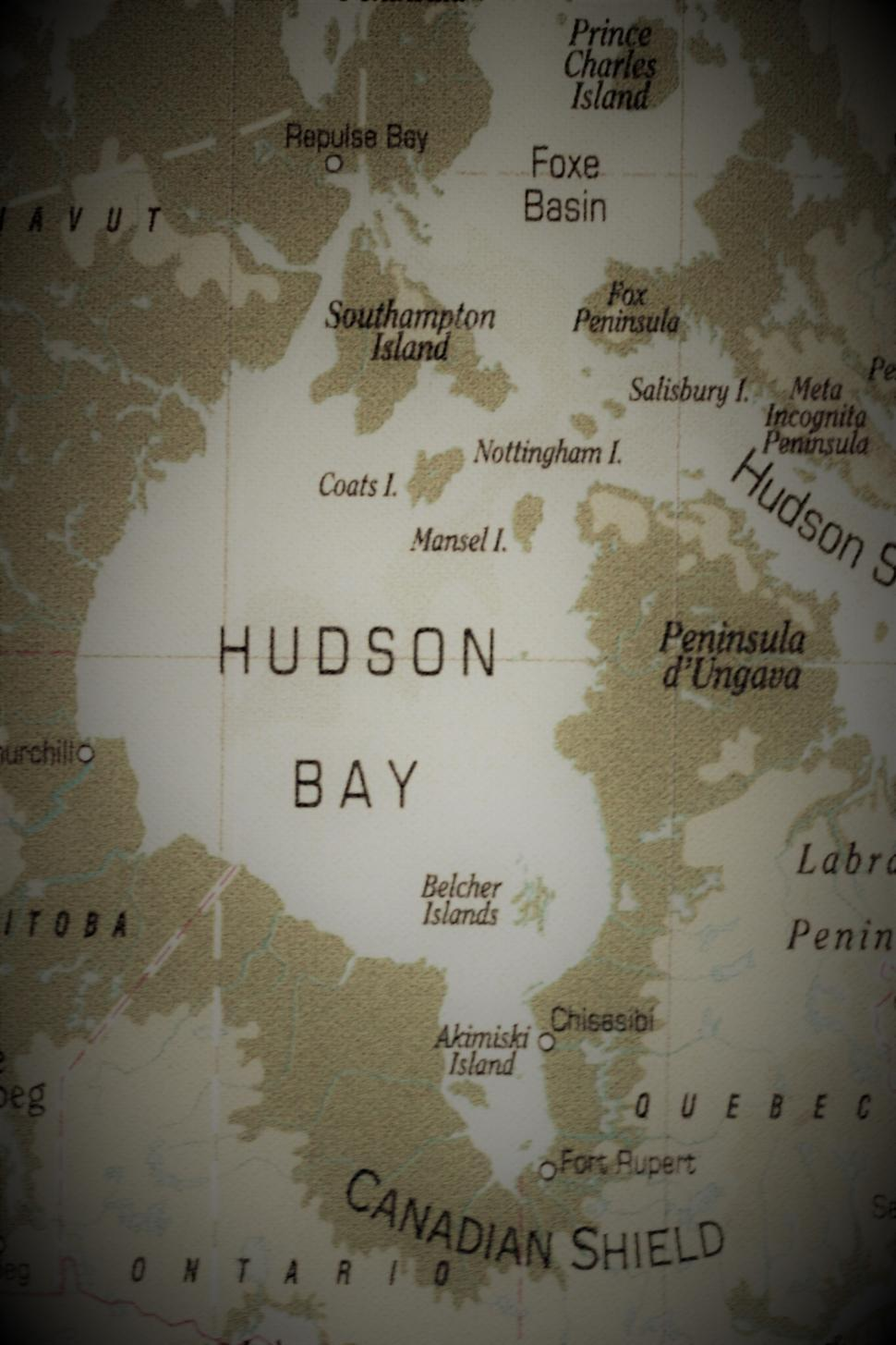 Download Free Stock Photo of Old Map of Hudson Bay