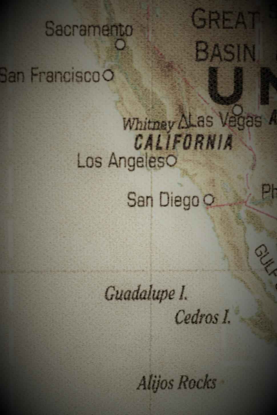 Download Free Stock Photo of Old Map of California USA