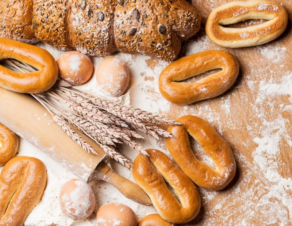 Download Free Stock Photo of Cooking. Delicious bread, bagels and eggs on the table