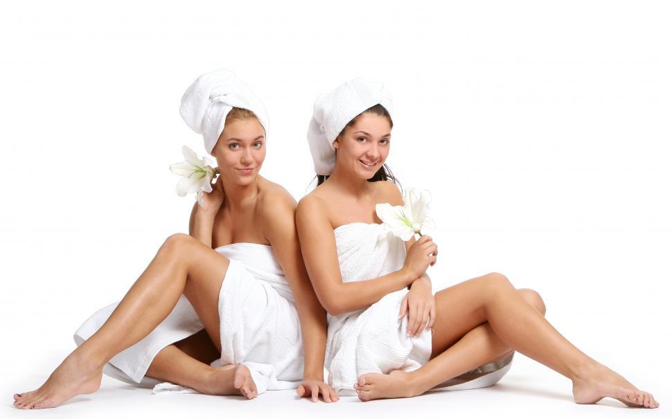 Download Free Stock Photo of Spa day ladies on white background