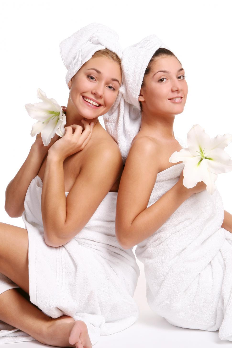Download Free Stock Photo of Two women in towels during spa day