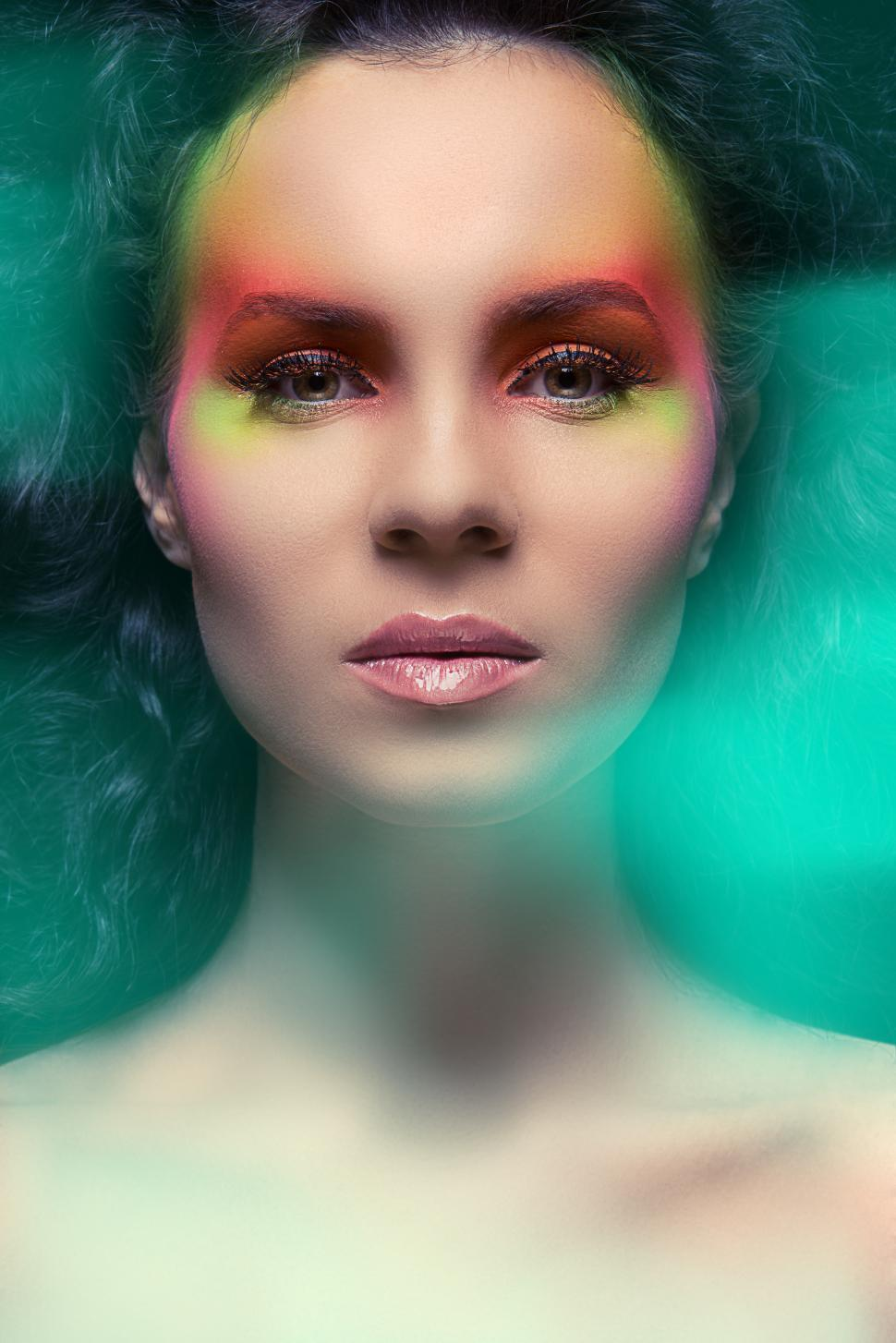 Download Free Stock Photo of Woman with exotic colored make-up