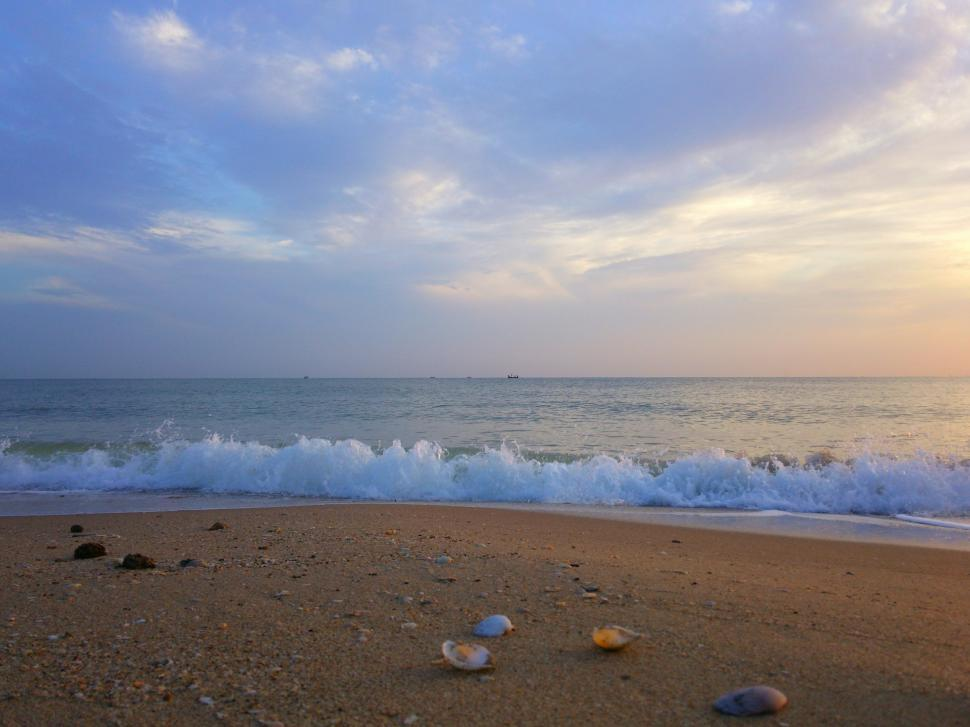 Download Free Stock Photo of View Of Natural Beach and Sunrise Sky